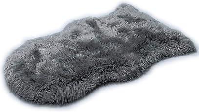 HLZDHKJ フェイクシープスキンラグ ムートンマット 洗える 人工ウールマット長毛 柔らか滑り止め付き高級感あるソファシートマットリビングルームラグ