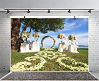 leyiyi 10x 6.5ft Photography Backgroud SeasideウェディングBackdrop Oceanアーチドアカーテン花ガーランド花Resort Underツリー湖Grassland HoneymoonブライダルシャワーフォトPortraitビニールStudio Prop