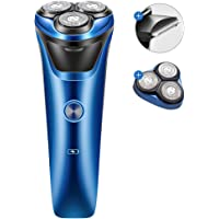 電気シェーバー メンズ ひげそり 回転式 USB1.5h急速充電 IPX7防水 水洗い/お風呂剃り可 敏感肌可 低騒音…