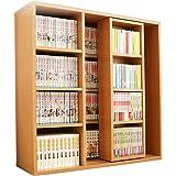 アイリスオーヤマ 本棚 コミック ラック 大容量 スライド棚 ウォールナットナチュラル シングル 幅約90×奥行約29.2×高さ約92.2cm CSS-9090