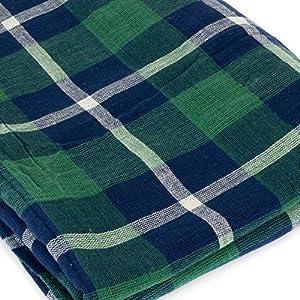 マライカ(MALAIKA) インド綿 多用途 イタワ チェック マルチカバー / マルチクロス【グリーン×ネイビー×ホワイト】長方形 シングルサイズ(150cm×225cm) -