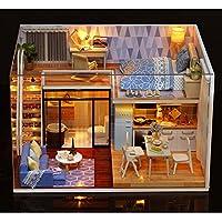 Farway ドールハウスキット ブルータイム DIYハウス 家具付き ミュージックライトカバー ミニチュアモデル ギフト装飾