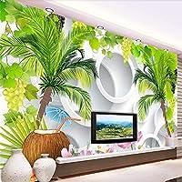 Bzbhart 新鮮なココナッツの木のステレオテレビの背景の壁カスタム大壁画緑の壁紙-200cmx140cm