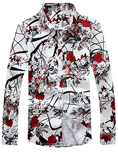 APTRO(アプトロ)花柄 シャツ メンズ 長袖 ワイシャツ カラーシャツ オシャレ 形態安定 上質仕様 お兄系 チョイワル系 アメカジ 柄物 カジュアル プリント アロハシャツ #2レッド XL