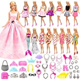 Barwa 55 Pcs Doll Clothes and Accessories Set EU CE-EN71 Certified Include 15 Clothes Party Grown Outfits + 40 Different Doll Accessories for 11.5 Inch Dolls