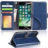 iPhone8 ケース 手帳型 iPhone7 ケース ワイヤレス充電対応 スマホケース 横置き機能 Arae カードポケット付き アイフォン7 8 用 財布型 ケース カバー(ダークブルー)