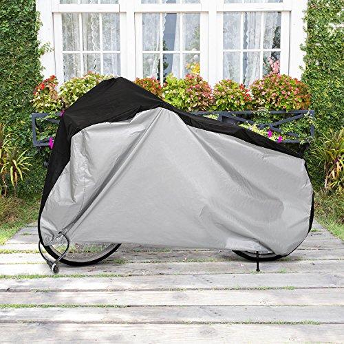 RooLee 自転車カバー サイクルカバー 190Tポリエステル製 厚手 破れにくい 防水 防風 防塵 防犯 風飛び防止 雨雪対応 50+UVカット 29インチまで対応 収納袋付き 新品改良版 ブラック