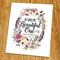 Solomon 2:1-17 He calls me beautiful one Print (Unframed) Watercolor Flower Scripture Print Bible Verse Print Christian Wall Art Living Room Decor 8x10 TC-040 [並行輸入品]