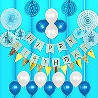 ゴージャス 誕生日 飾り付け 男の子 バルーン HAPPY BIRTHDAY ガーランド バースデー ペーパーフラワー フラッグガーランド 240㎝ 特大 (▽垂付, ブルー)