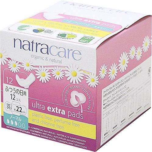 ナトラケア Natracare 生理用ナプキン オーガニック ふつうの日用 羽根付き ウルトラパッド ノーマル 12個入り