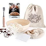 9 Inch Round Banneton Bread Proofing Basket for Rising Dough Professional Baking Tool 7 Pack Set - Brotform & Linen Liner & B