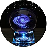 Galaxy Crystal Ball - Galaxy Balls for Kids with LED Lamp Base Clear 80mm(3 inch)Galaxy Glass Art for Kids Birthday Gifts Tea