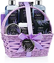 Home Spa Gift Basket, 9 Piece Bath & Body Set for Women and Men, Lavender & Jasmine Scent - Contains S