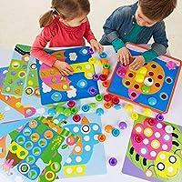 Sillbird ボタン アート 幼児 玩具 パズル ゲーム 男の子 女の子 色 モザイクペグボード 早期教育玩具