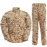 TACVASEN タクティカル ズボン 大きいサイズ レディース 迷彩服 上下セット 戦闘服 上下セット サバゲー ミリタリー デザート S