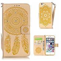 CUSKING iPhone 6 Plus / 6s Plus ケース 手帳型 ケース PUレザー カードポケット付き ストラップ付き 財布型 ケース アイフォン 6 プラス 6s プラス 対応 カバー ドリームキャッチャー トーテム 柄 キラキラ ダイヤモンド ケース - ゴールド