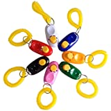 SunGrow 7 Dog Clickers With Wrist Bands - Colorful & Practical Set Of Simple, Convenient & Effective Training Tools For Puppy