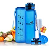 DEO VOLENTE 1L Motivational Drink Bottle, BPA Free, Eco-Friendly, and Light Weight Material with Fruit Infusion Sieve, Water