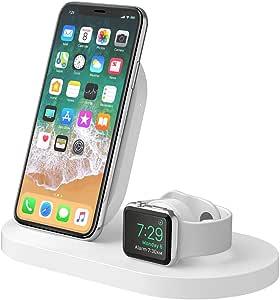 ベルキン iPhone + Apple Watch用 ワイヤレス充電器 Series 1 / 2 / 3 / 4 / 5 対応 ホワイト USB-A端子付属 BOOST↑UP F8J235DQWHT-A