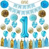 お誕生日飾り 1歳 boy キラキラゼット ペーパーフラワー 風船 男の子 ベービー パーティー  HAPPY BIRTHDAY Best Wishes ブルー バースデーガーランド タッセルガーランド  (ブルー)