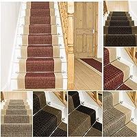 ジェンガ階段カーペットランナー| 450cm-900cmの間のサイズ|ブラック、ブラウン、レッドまたはツイード