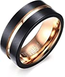 Rockyu アクセサリー タングステン リング 10号指輪 メンズ シンプル ブラックリング 快適なフィット感 平打つ…