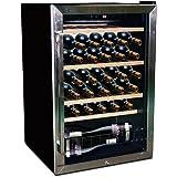 New 45 Bottle Wine Fridge Single Zone Underbench Cooler Stainless Steel Black