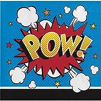 (Beverage Paper Napkins) - Creative Converting 324835 192 Count Beverage Paper Napkin, Superhero Slogans