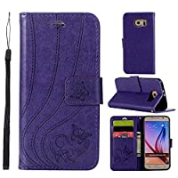 Samsung Galaxy S6 G9200 Case,保護 バックケース Premium PU Leather Wallet Case バックケース with Kickstand and Credit Card Slot Cash Holder Flip Cover for Samsung Galaxy S6 G9200 Purple
