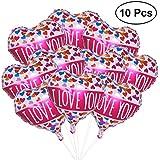 WINOMO ハート型風船 バルーン アルミ風船 45cm 大き 10枚セット 「I Love You」 告白 プロポーズ クリスマス 結婚式 パーティー バレンタイン等に