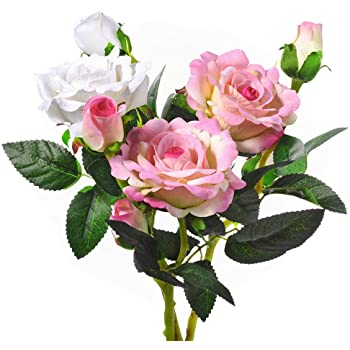 造花 バラ ミニローズブーケ(3本セット) 薔薇 花束 インテリア造花 アートフラワー 造花 プレゼント 枯れない シルク製 母の日ンプレゼント ギフト (2*ピンク+1*ホワイト)