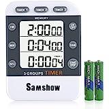 Digital Dual Kitchen Timer, Samshow 3 Channels Count UP/Down Timer, Cooking Timer, Stopwatch, Large Display, Adjustable Volum