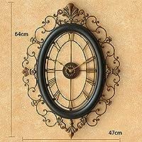 LMZ ウォールクロックアメリカンスタイルのリビングルームの装飾ミュートヴィンテージアイロン中空彫刻クォーツ時計(64 * 47センチメートル1のパッキング)