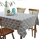 テーブルクロス リネンの テーブルマット青と白の テーブルク (130X180)