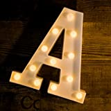 Yoaky LED Marquee Letter Lights Sign 26 Alphabet Light Up Marquee Letters Sign for Night Light Wedding Birthday Party Battery