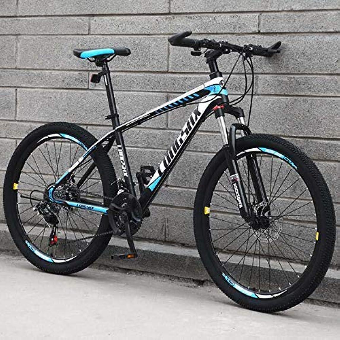 ナイロンでるラップトップ成人男性用マウンテンバイク、高炭素鋼フレームMBTバイク、衝撃吸収フロントフォークマウンテン自転車、ダブルディスクブレーキ