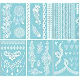 6 Sheets White Henna Temporary Tattoo Stickers Henna Body Paints for Summer/Wedding/Beach Women & Girls Design (Flower)