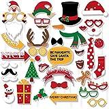 60 ctクリスマス写真ブース小道具 – Xmas / Holidayパーティーデコレーション面白いサンタトナカイ雪だるまSupplies