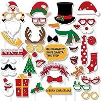 60ctクリスマス写真ブース小道具–Xmas / Holidayパーティーデコレーション面白いサンタトナカイ雪だるまSupplies