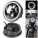 【HOZAN照明】5.75インチ オートバイ プロジェクターDaymaker LEDヘッドライト ホワイトDRL付き Hi/Lo切り替え インナーブラック For ハーレーダビッドソンスポーツスター883 72 48 1年間保証付き