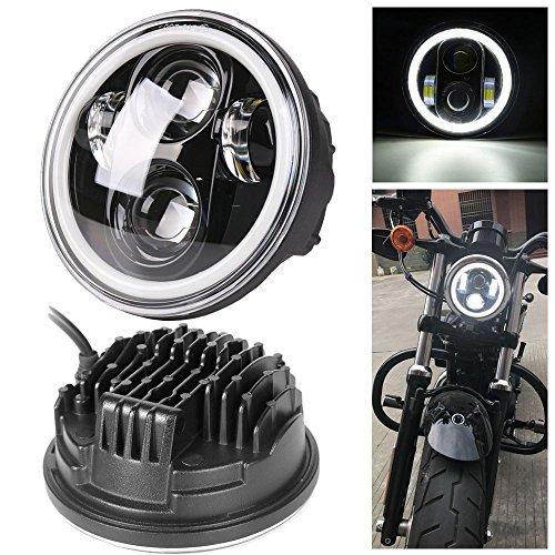 HOZAN照明5.75インチ オートバイ プロジェクターDaymaker LEDヘッドライト ホワイトDRL付き Hi/Lo切り替え インナーブラック For ハーレーダビッドソンスポーツスター883 72 48 1年間保証付き