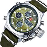 Zeiger メンズ アナデジLED 腕時計 多機能 日付曜日 クロノグラフ クォーツ スポーツ 時計 ミリタリー (グリーン)