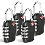 TSA Approved Luggage Combination Locks, T Tersely (4 Pack) 4 Digit Combination Padlock with Alloy Body TSA Lock for Travel Ba