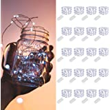 MUMUXI 20 Pack Fairy Lights Battery Operated, 3.3ft 20 LED Mini Waterproof Fairy String Lights Silver Wire Firefly Starry Lig