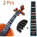 VCOSTORE Violin Mute and Finger Guide Pack, 3/4 Fingerboard Sticker Fret Guide Label Chart and Rubber Practice Silencer Acces