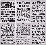 6pcs / setアルファベットの手紙と番号の絵画ステンシルスケールのテンプレートケーキのステンシルスクラップブックのDIYの装飾