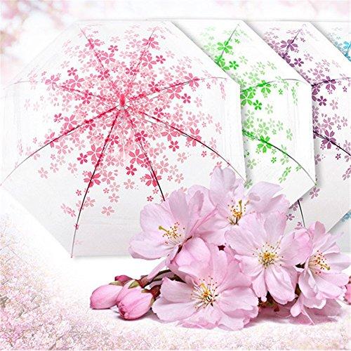 優品屋 傘 レディース 超軽量 透明な桜柄傘  折りたたみ 晴雨兼用傘 日傘 持ち運び携帯用 可愛い傘 ピンク