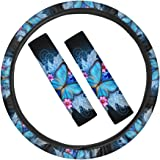 PZZ BEACH Comfy Durable Butterfly Steering Wheel Cover for Women with Cute Seat Belt Pads Car Accessories for Women,Blue Set