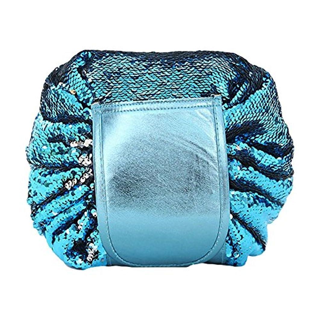 ヘッドレス肉屋出席するDJHbuy 旅行用 スパンコール 化粧ポーチ 大容量 巾着 便利 化粧品収納バッグ