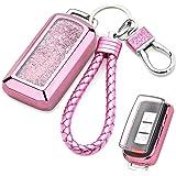 Senauto Quicksand Key Fob Cover Case Keychain for Mitsubishi (Pink)